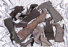 Vrouwelijk schoeisel op silver-grey satijn Stock Foto's