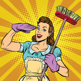 Vrouwelijk schoner het schoonmaken retro bedrijfpop-art Royalty-vrije Stock Fotografie