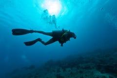 Vrouwelijk scuba-duikersilhouet onderwater Royalty-vrije Stock Foto's