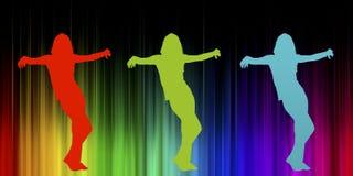 Vrouwelijk silhouet op gordijn Stock Foto's