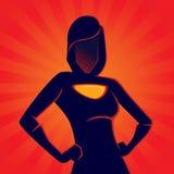 Vrouwelijk Superhero-Silhouet met Rode Achtergrond stock illustratie