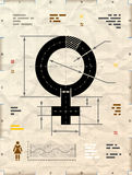 Vrouwelijk symbool als technische blauwdruktekening royalty-vrije illustratie