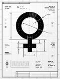 Vrouwelijk symbool als technische tekening royalty-vrije illustratie