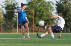 Vrouwelijk voetbal stock afbeeldingen
