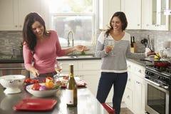 Vrouwelijk vrolijk paar die maaltijd samen en het drinken wijn voorbereiden Stock Foto