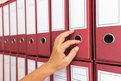 Vrouwelijke accountant het archiveren bedrijfsdocumentatie stock foto