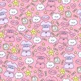Vrouwelijke achtergrond met grappige wolken, harten, sterren, suikergoed, wekker, slaapmasker en pyjama's stock illustratie