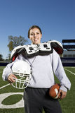Vrouwelijke Amerikaanse voetballer Stock Afbeeldingen