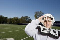 Vrouwelijke Amerikaanse voetballer Stock Fotografie