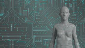 Vrouwelijke androïde en gloeiende groene kringsraad vector illustratie