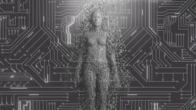 Vrouwelijke androïde vorm die uit de gloeiende raad van de computerkring te voorschijn komen royalty-vrije illustratie