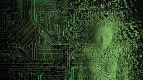 Vrouwelijke androïde vorm die uit de gloeiende raad van de computerkring te voorschijn komen vector illustratie