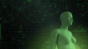 Vrouwelijke androïde vorm voor de gloeiende raad van de computerkring vector illustratie