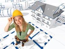 Vrouwelijke arbeider op 3d blauwdruk Stock Fotografie