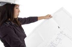 Vrouwelijke architect die blauwdrukken bekijkt Royalty-vrije Stock Foto