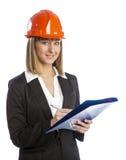 Vrouwelijke architect met een omslag voor documenten. Stock Afbeeldingen