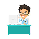 Vrouwelijke arts die op de telefoon spreekt Stock Foto