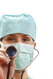 Vrouwelijke arts met stethoscoop royalty-vrije stock foto