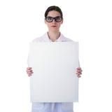 Vrouwelijke artsen hulpwetenschapper in witte laag over geïsoleerde achtergrond Royalty-vrije Stock Afbeeldingen