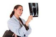 Vrouwelijke artsen x ray foto Royalty-vrije Stock Afbeeldingen