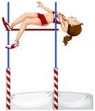 Vrouwelijke atleet die hoogspringen doen Royalty-vrije Stock Foto