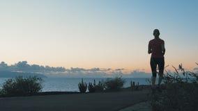 Vrouwelijke atleten die langs de kust van de oceaan bij zonsondergang lopen stock footage