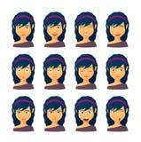 Vrouwelijke avatar uitdrukkingsreeks Royalty-vrije Stock Afbeeldingen