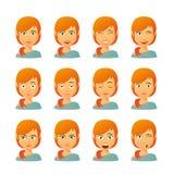 Vrouwelijke avatar uitdrukkingsreeks Stock Foto's