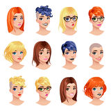Vrouwelijke avatars van de manier Stock Afbeeldingen