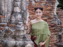 Vrouwelijke Aziatische kleding oud Thailand Royalty-vrije Stock Afbeeldingen
