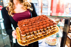 Vrouwelijke bakker die cake in banketbakkerij voorstellen royalty-vrije stock afbeelding