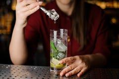 Vrouwelijke barman die een ijsblokje met tang toevoegen aan de cocktail royalty-vrije stock foto