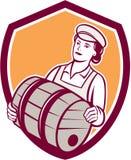 Vrouwelijke Barman Retro Carrying Keg Shield Royalty-vrije Stock Foto's