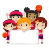 Vrouwelijke Basketbalspelers die een Lege Raad houden royalty-vrije illustratie