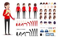 Vrouwelijke Bediende Character Creation Kit Template met Verschillende Gelaatsuitdrukkingen stock illustratie