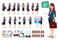 Vrouwelijke bedrijfskarakter vectorreeks Bureauvrouw die en zak spreken houden vector illustratie