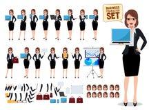 Vrouwelijke bedrijfsset van tekens met bureauvrouw die laptop het scherm en het spreken tonen vector illustratie