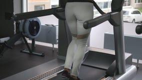 Vrouwelijke benen die en op tredmolen in gymnastiek lopen lopen Jonge vrouw die tijdens cardiotraining uitoefenen Voeten meisjes  stock videobeelden
