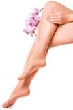 Vrouwelijke benen en roze manicure met orchideebloem Stock Afbeeldingen