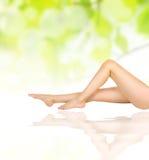 Vrouwelijke benen op watergolven over groen Royalty-vrije Stock Foto's
