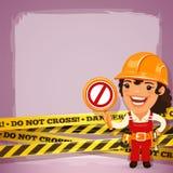 Vrouwelijke Bouwer With Danger Tapes Stock Foto