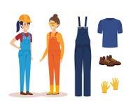 Vrouwelijke bouwers met materiaal royalty-vrije illustratie
