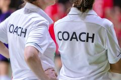 Vrouwelijke bussen in wit BUSoverhemd stock foto