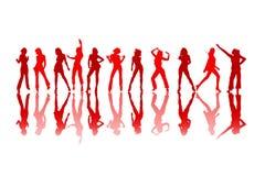 Vrouwelijke dansende rode silhouetten Royalty-vrije Stock Afbeelding
