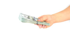 Vrouwelijke de dollarsbankbiljetten van de handgreep op een witte achtergrond Sluit omhoog Royalty-vrije Stock Fotografie