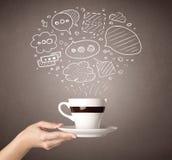 Vrouwelijke de koffiekop van de handholding royalty-vrije stock afbeelding