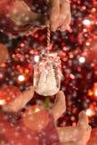 Vrouwelijke de vakantiedecoratie van de handholding met kleine Kerstboom Royalty-vrije Stock Foto
