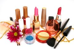Vrouwelijke decoratieve schoonheidsmiddelen Stock Foto's
