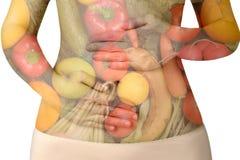 Vrouwelijke die buik met vruchten en groenten op wit worden geïsoleerd Royalty-vrije Stock Afbeelding