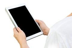 Vrouwelijke die greeptablet met het zwarte scherm wordt geïsoleerd Royalty-vrije Stock Afbeelding